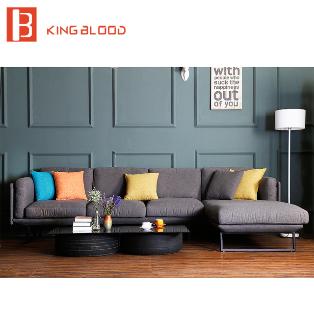 Royal Style Grey Fabric Modern Corner Sofa Set with Metal Frame for ...