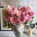 Искусственные Цветы Шелк цветок Европейский Падение Vivid Пион Поддельные Листьев Свадьба Главная Украшение Партии 7 Голов Пион Рождественских Подарков