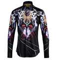 Cool Luxury Brand Men Shirt Chemise Homme 2017 Fashion Gothic Style Mens Dress Shirts Casual Slim Fit Long Sleeve Cotton Shirts