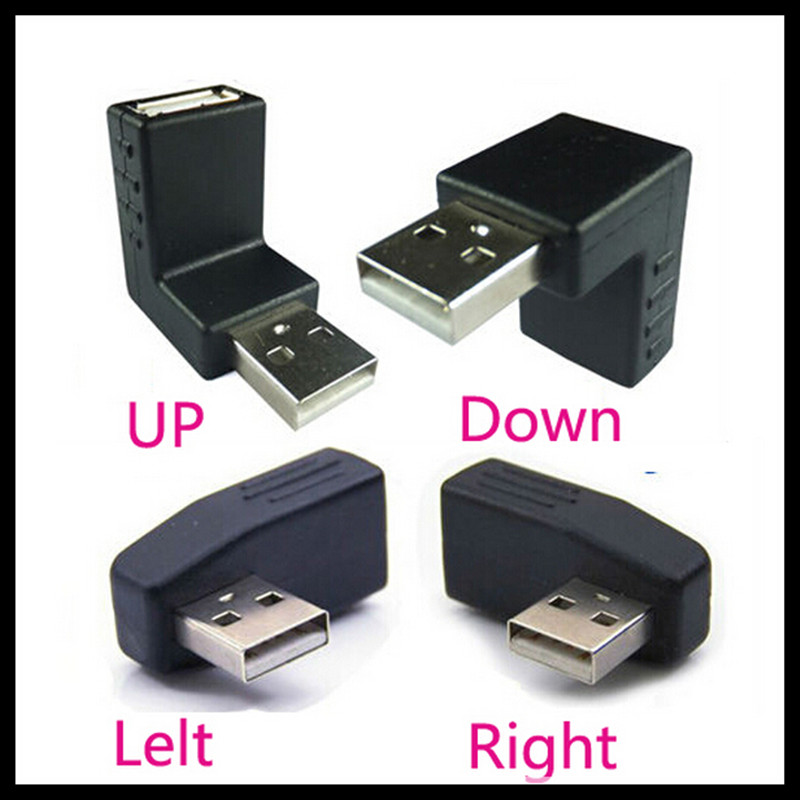 90 Degree Right Angle Usb Male to Female Connector Redirectional Adapter left + right + up + down 2pcs 90 degree up