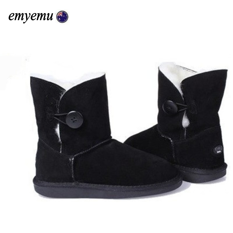 EMYEMU Bronte BAILEY BUTTON Cow-Suede Genuine with 100% Wool inner Winter Snow Boots 5colors free shipping шляпа bailey bailey mp002xu00ydu