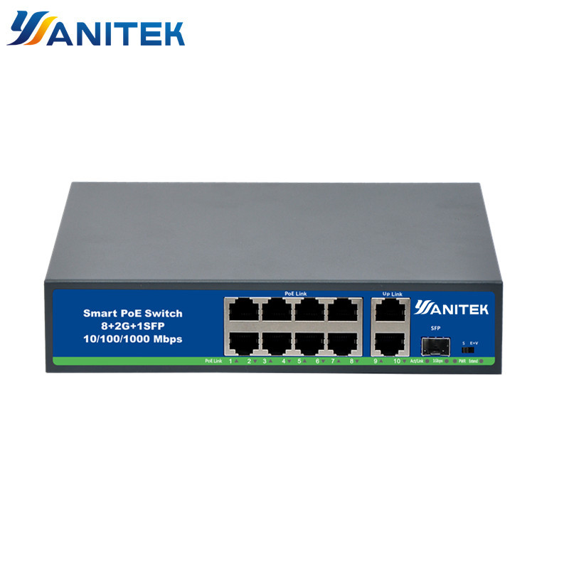 8 Ports 48V POE Switch With Standardized RJ45 Port IEEE 802.3 Af/at 48V Network Switch Ethernet With 100/1000Mbps For POE Camera