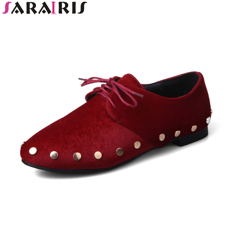 SARAIRIS 2018 Spring Autumn Hot Sale Rivet Flats Women lace-up Shallow Shoes Woman Big Size 34-43 Lady Casual Shoes hot sale spring autumn handmade flats