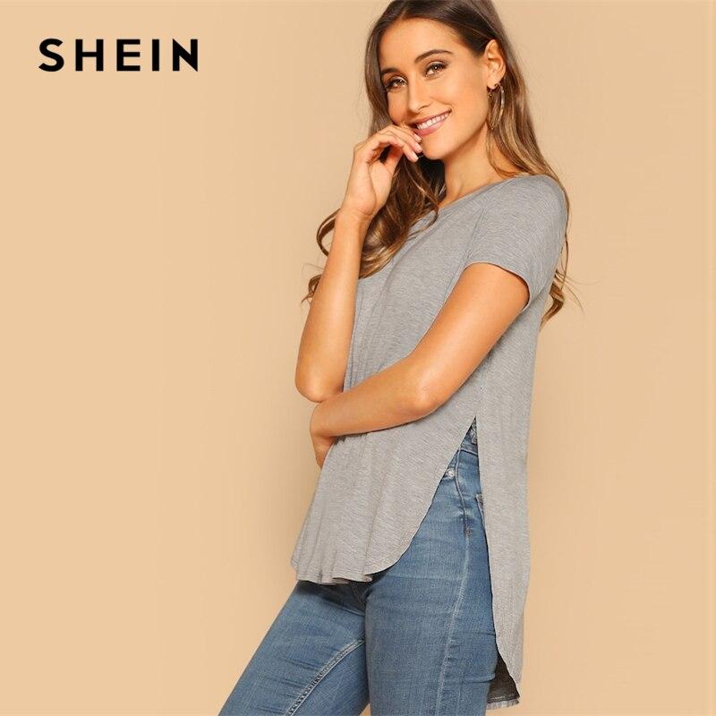 194431b5c2 SHEIN Grey Solid Slit Curved Hem Asymmetrical Short Sleeve Plain Top Tee  2019 Summer Short Sleeve