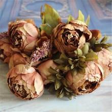 Новые искусственные цветы из шелка цветок Европейская Осенняя яркая пион поддельные Листья Свадебные украшения для дома Вечерние