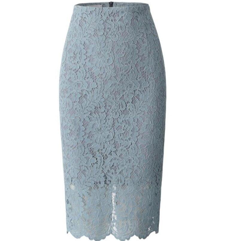High Waist Bodycon Lace Skirt Womens Black White Blue Feminino Formal High Quality Ladies Pencil Skirts