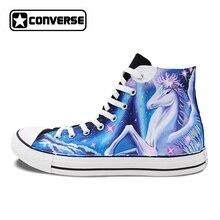 Для женщин Для мужчин Converse All Star обувь Galaxy единорог Пегас оригинальный Дизайн ручной росписью обувь мужские и женские высокие холщовые кроссовки