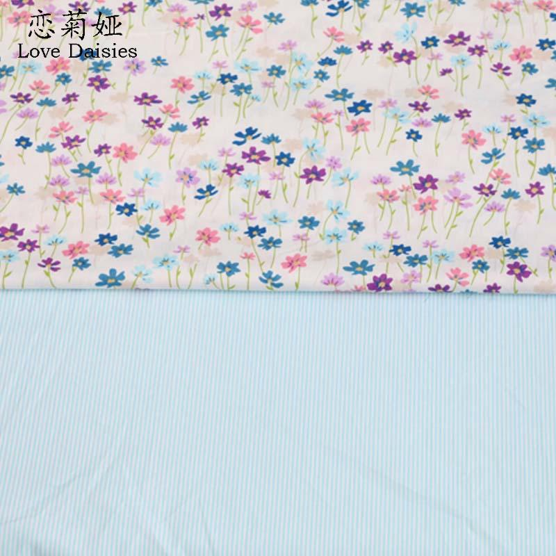 100% cotton twill cloth fresh blue purple small flowers stripe DIY for kids bedding cushions clothes handwork quliting fabric