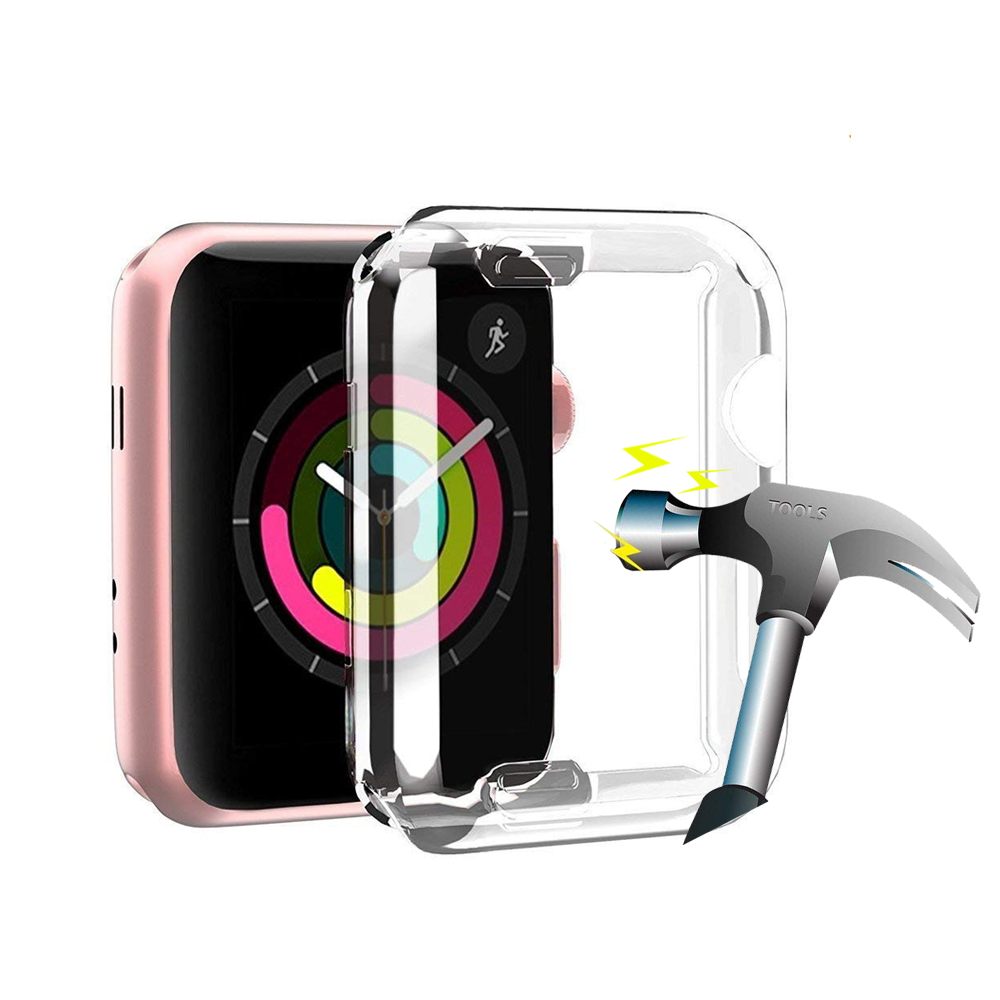 CRESTED Screen protector case for apple watch 3/2/1 42mm/38mm Iwatch silicone soft All-around Ultra-thin Clear Cover accessories tpu clear slim soft case cover 38 42mm cover screen protector film accessories for apple watch 1 2 3