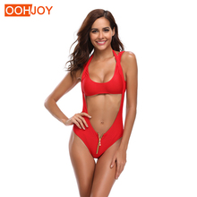 цены на New Women Zipper Bikini Women Swimsuit High Waist Cut Out Swimwear Solid Red Bathing Suit S-XL Girl Backless Halter Bikini Set  в интернет-магазинах