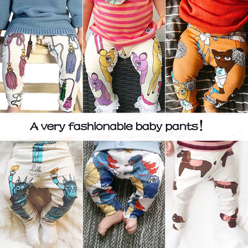 TinyPeople 2019 infant ins Cartoon print cotton Spring autumn Baby Pants Baby Girl leggings toddler boy newborn cute trousers