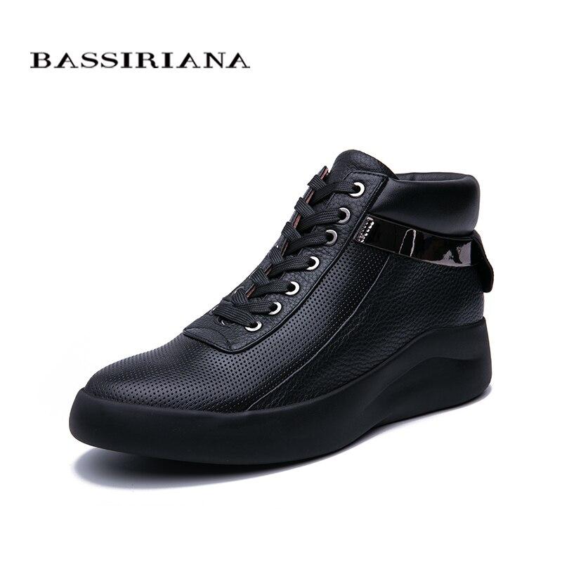 BASSIRIANA 2019 جديد الطبيعي جلد حذاء مسطح سميكة أسفل مريحة عارضة أحذية نسائية اللون الوردي أسود أبيض حجم 35 40-في أحذية نسائية مسطحة من أحذية على  مجموعة 2