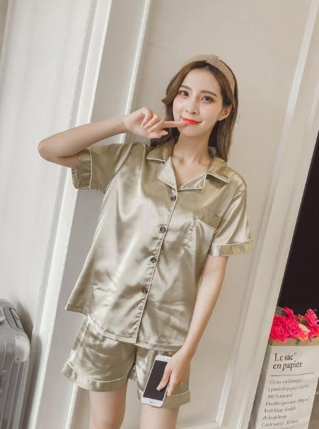 Women/'s Silk Satin Pajamas Set Short Sleeve Button-Down Sleepwear Loungewear