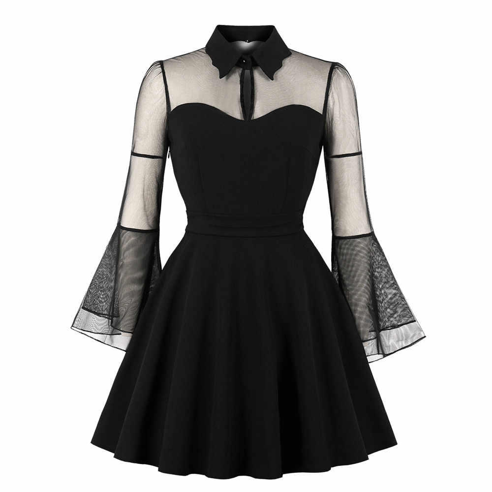 2c7164bb8d6d5a Women Long Sleeve Solid Color Punk Vintage Party Gothic Rockabilly Swing  Dresses See-through Dress