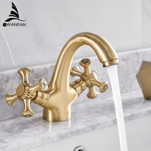 Basin Faucets Retro Bathroom Sink Mixer Deck Mounted Single Handle Single Hole Bathroom Faucet Brass Hot and Cold Tap WF-855722 стоимость