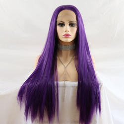 Marquesha Realistic Looking Purple Straight Heat Resistant Fiber Synthetic Lace Front Wigs For Women