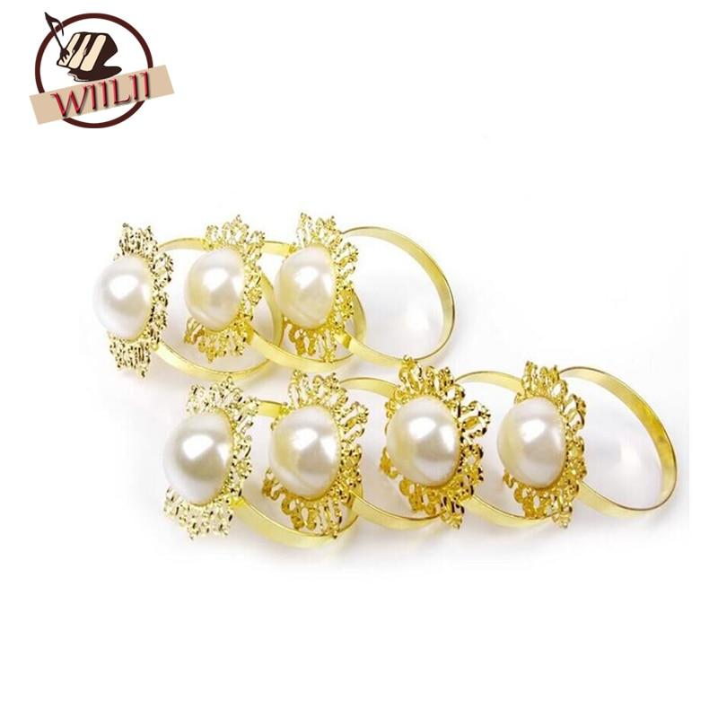 WIILII 100 Pcs Gold Diamond Gem Napkin Ring Serviette Holder Wedding Party Decor Craft New Round