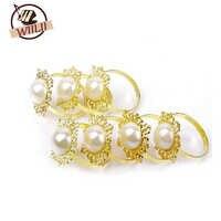 WIILII 100 Pcs Gold Diamond Gem Servetring Servet Houder Wedding Party Decor Craft Nieuwe Ronde Metalen Ring Set van strass