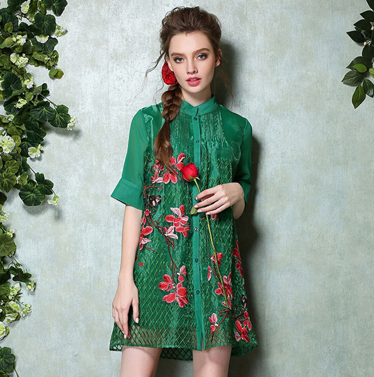 European style high end brand 2017 spring flowers bird embroidered ...