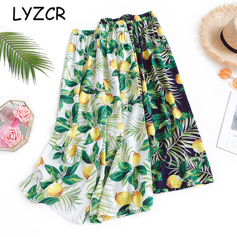 Women Flower Print Wide Leg Pants Summer Loose Ladies Cotton Women's Pants Elastic Waist Casual Beach Floral Print Pants Women