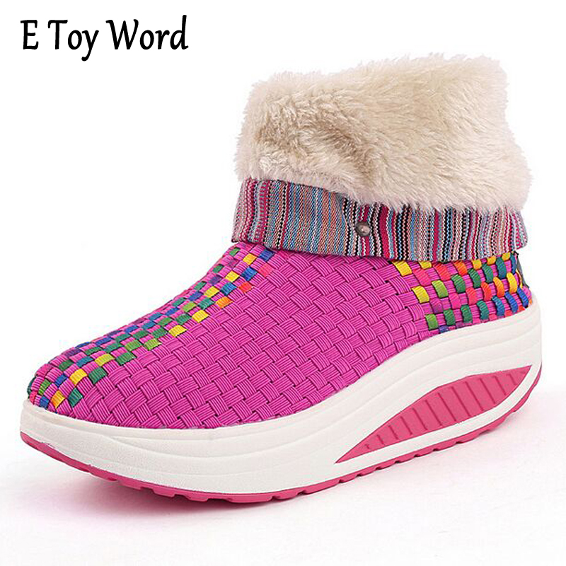 E TOY WORD Winter Boots Cashmere Warm Women Swing Shoes Snow Platform Boots Women Thermal Cotton-padded Shoes Flat Ankle Boots e toy word 2017 winter snow boots women warm fashion platform rubber ankle boots shoes woman flat with 3 colors xwm190