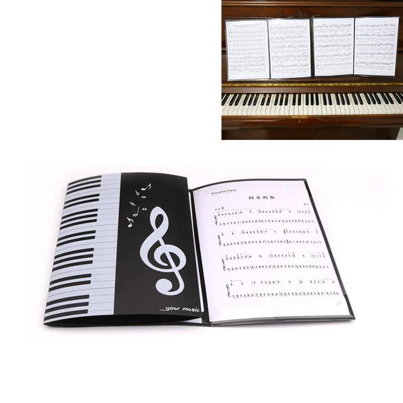 A4 6 Pages Folding Music Score Holder Folder For Piano Paper Sheet Document Organizer