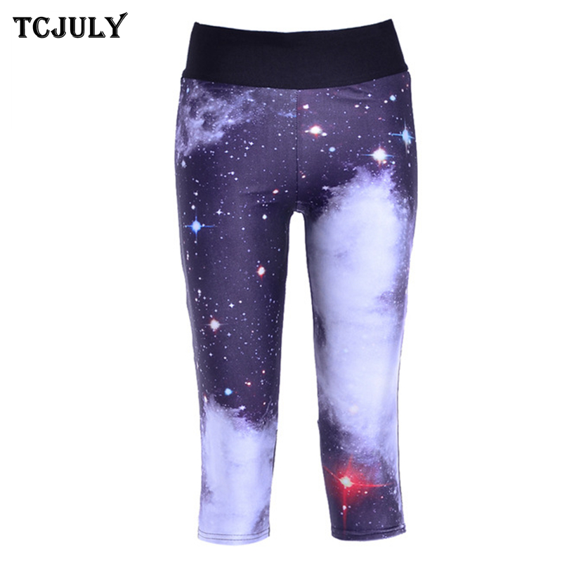 TCJULY New S-4XL   Capri     Pants   Women Large Sizes Digital Printed High Waist Stretch Push Up Leggings Cropped Trousers With Pockets