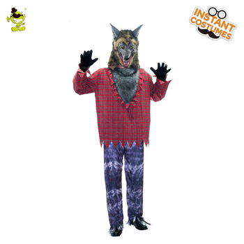 Adult Men Werewolf Costume Halloween Party High Quality Roleplay Cosplay Horror Wolfman Clothes for Purim Party Werewolf Costume фото