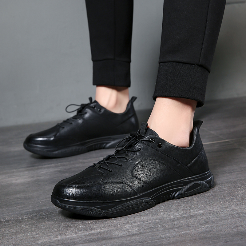 DESAI New Hot Sale Fashion Male Casual Shoes All Black Men's Leather Casual Sneakers Fashion Black Flats Shoes #C051