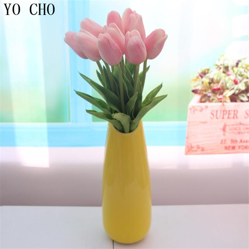 YO CHO 3 unids Mini Tulipanes Flores Artificiales PU Toque Real Flor - Para fiestas y celebraciones - foto 5