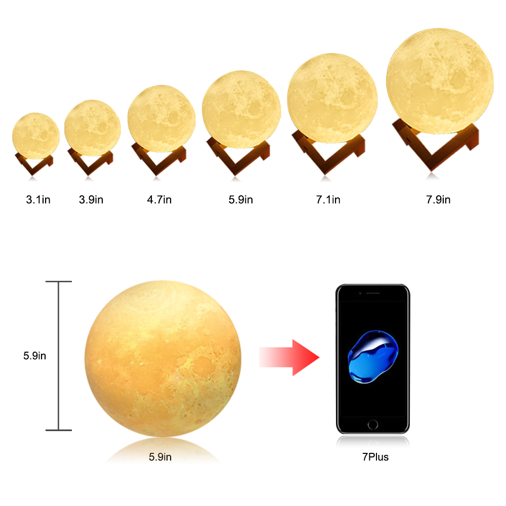 Rechargeable Moon Lamp 3D Touch Control Brightness Light 2