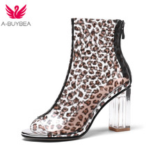 Size 43 New Sexy Leopard PVC Women Ankle Boots Peep Toe Zipper Ladies Summer Shoes Transparent Thick Heels Women High Heel Shoes недорого