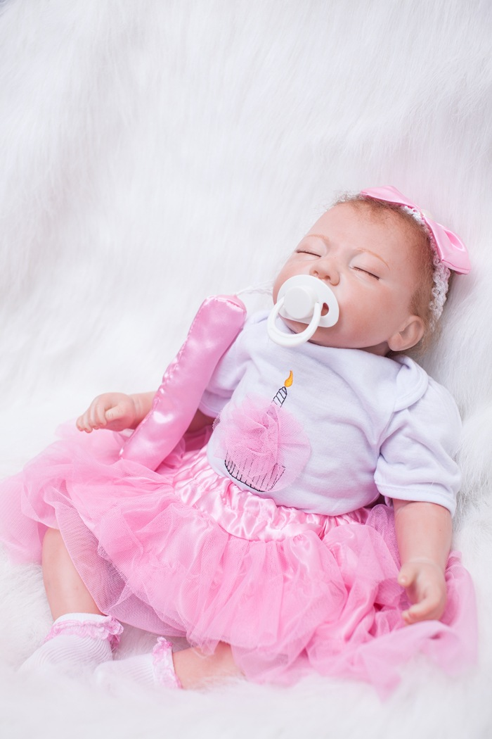 55cm Sleeping Silicone Reborn Baby Dolls Bebe Reborn Bonecas Doll American Girls Dolls Kids Toys Children Birthday Gifts silicone reborn baby doll toys for girls birthday christmas gifts 55cm lifelike boy baby reborn dolls kids child toy