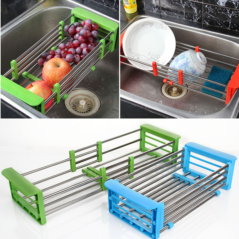 New Arrival retractable stainless steel wicker <font><b>baskets</b></font> Adjustable Shelf fruit/vegetable draining rack tray dish drainer