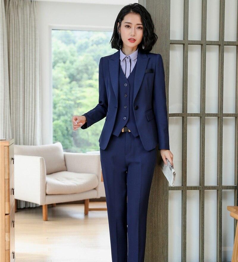 7ca62ecada40 Del Di Gilet blu Affari Navy Giacca Per Nero Set Eleganti Uniformi Donna  Pezzo Vestiti Il Lavoro Usura Pantaloni Blu 3 Dei E Ufficio Stili Blazer  xgaIFOX
