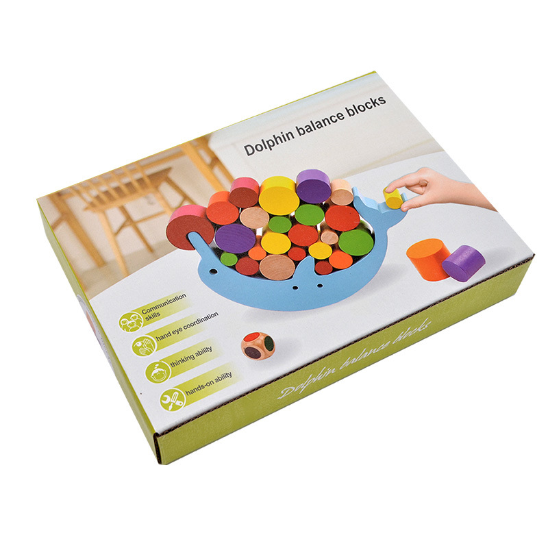 Free Shipping Kids Wooden Dolphin Balance Puzzle Toy, Baby Dolphin Balanced Board Games Puzzle Toy