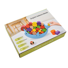 Free shipping Kids Wooden Dolphin balance puzzle toy, Baby dolphin balanced board games toy