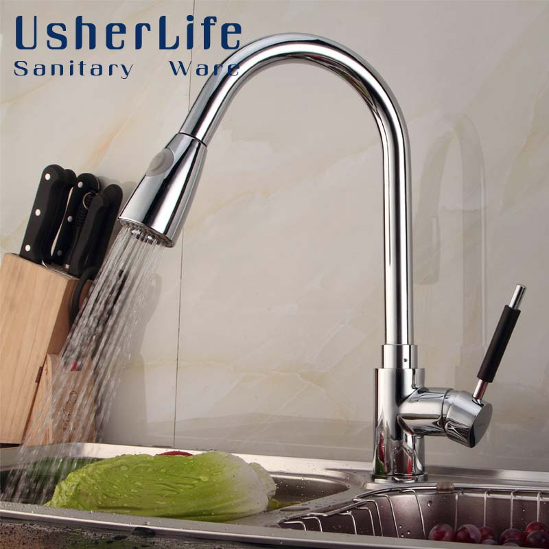 Usherlife chrome brass pull down kitchen faucet polished kitchen sink faucets with 360 degree rotation swivel