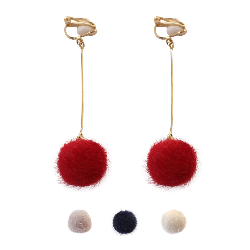 Simple 4 Colors Red Black White Cute Hair Ball Earrings Pom Pom Clip Earrings No Ear Hole for Femme Women Girls Long Earrings