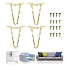Pernas de cabelo dourado 6 ou 7 Polegada, 4 unidades, para instalar pernas de metal para móveis pernas modernas do meio século para cadeiras de café e ponta