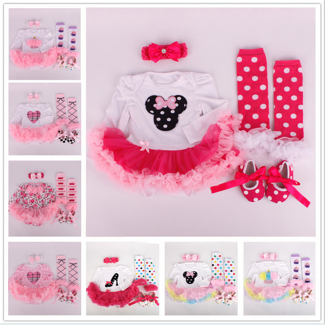 Осень ребенка ползунки устанавливает цветочные мультфильм новорожденный пачка одеваются ползунки + повязка на голову + леггинсы + первые ходоки 4 шт./компл. малыш комплектов одежды