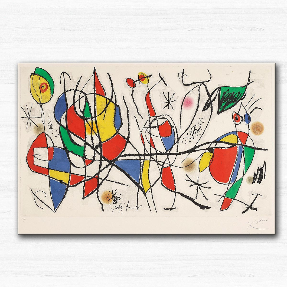 Huge Printing Oil Painting Wall painting The guest of the Sunday I, 1969 by Joan Miro Wall Art Picture For Living Room painting