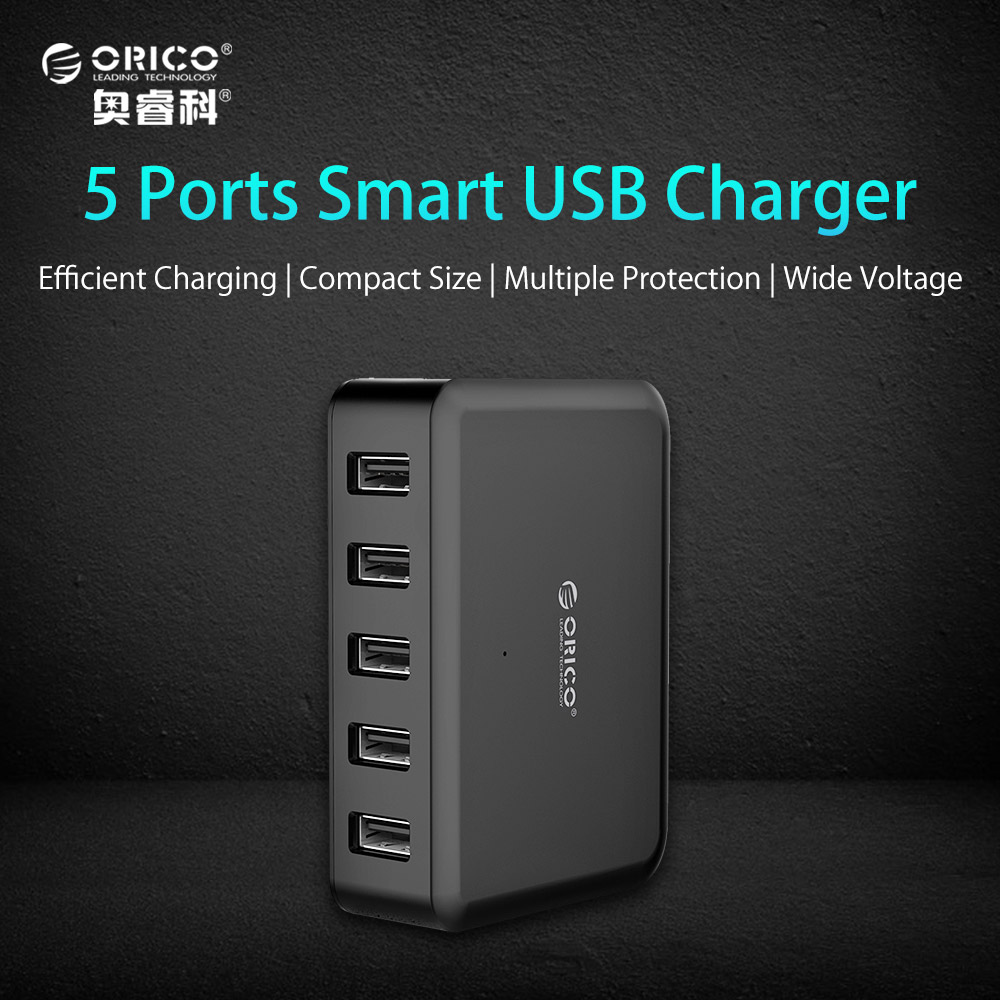 ORICO 5 Ports USB Charger 5V7.8A39W Smart Super Charger for Travel Charger EUUSUK Plug Available - Black(DCAP-5S)
