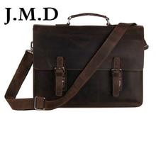 J.M.D Vintage Leather Men's Dark Brown Briefcases Messenger Laptop Bag Messenger Bag Shoulder Bags You Deserve To Own 7223