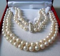Lady S Women S Silver Jewelry 2 Rows 8 9MM WHITE AKOYA SALTWATER PEARL NECKLACE 17