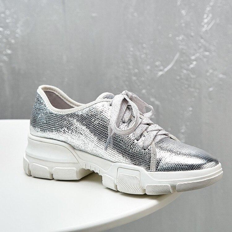 Mujer Femmes Chaussures De gun Plate Cuir Color Véritable Argent Peu forme Profonde Casual Appartements Zapatos Argent Lacent Plat Sneakers T1Jc35uFlK