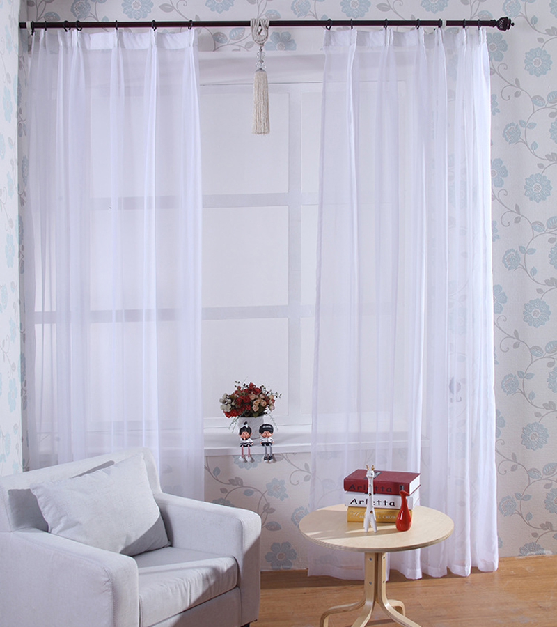 White Polyester Voile Short Modern Style Window Curtain Sheer Curtain Home Decor