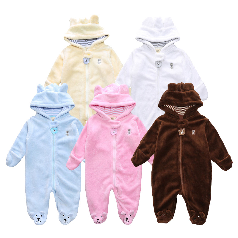 Fashion Winter Newborn Baby Romper Baby Clothing Boys Girls Clothes With Hat Long Sleeve Coral Fleece Infant Jumpsuit 5 Style