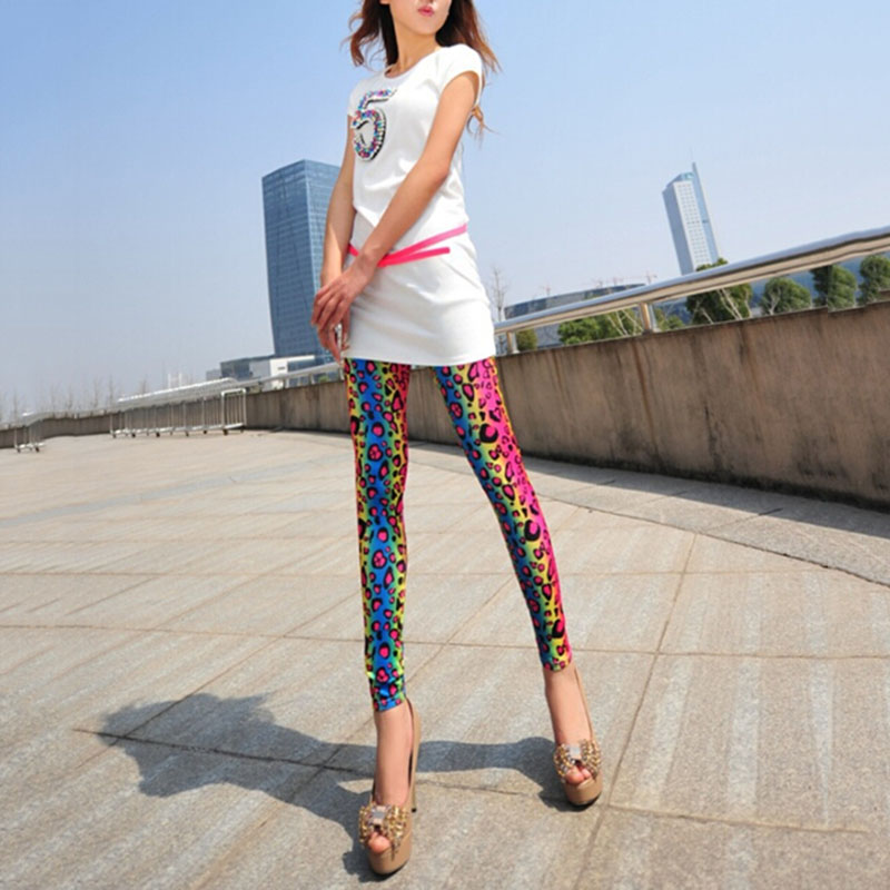 2018 Sexy Stretch Cotton Leggings Women Summer Colorful Skinny Pencil Pants Plus Size Leopard Print Casual Vintage New Arrival