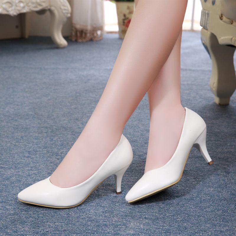 Wholesale Springle Fashion White Women Shoes For Girls Women Whiteu0026Black High Heel Pump Shoes ...